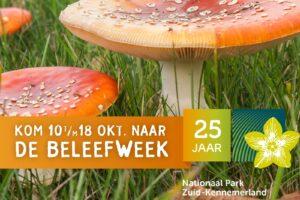 promotie van nationaal park zuid kennemerland van de beleefweek van 10 tot en met 18 oktober in 2020, logo van nationaal park zichtbaar en op de achtergrond foto van rode paddenstoelen met witte stippen die in het gras staan